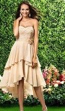 Free Shipping Asymmetrical Short Front Long Back Sweetheart Mid Calf Bridesmaids Dresses For Women BD049