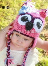 1pcs Retail Lovely Pink Owl Hat,Little Girl Knit handmade Crochet Beanie hat Free Shipping shooting props