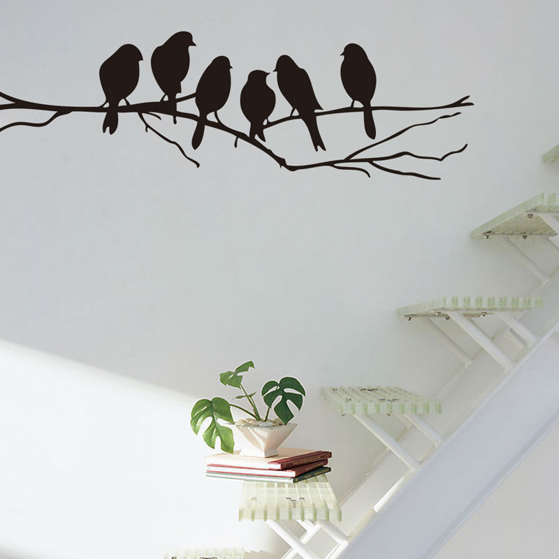 Vivid Wall stickers Decal Removable Black Bird Tree Branch Art Home Mural wall sticker Home Living Room Office decoration ZB371
