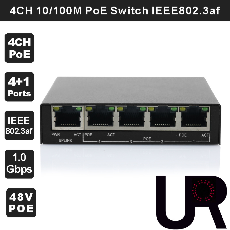bilder für Unmanaged 4-Port 10/100 Mbps 802.3af PoE + 1-Port 10/100 Mbps Palm Größe Design Desktop Switch für 802.3af PoE IP Kameras