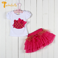 TWINSBELLA Girls Clothing Sets 2017 New Spring Girls Cartoon T-shirt+TuTu Skirt Kids Clothes Summer Baby Girl Causal Sets
