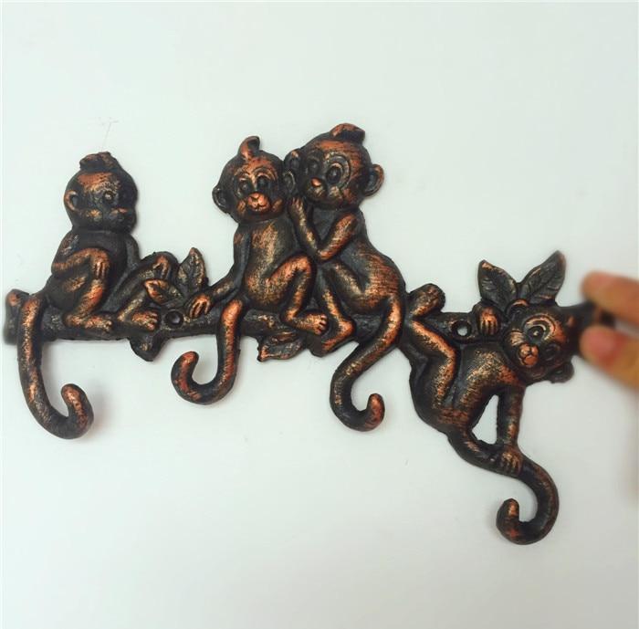 2 porte-manteau décoratif en fonte d'aluminium avec 4 crochets porte-clé singe porte-cintre mural décoration de porte Antique Animal
