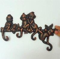 2PCS Cast Aluminum Decorative Coat Rack with 4 Hooks Monkey Key Clothes Hanger Holder Wall Home Door Decoration Antique Animal