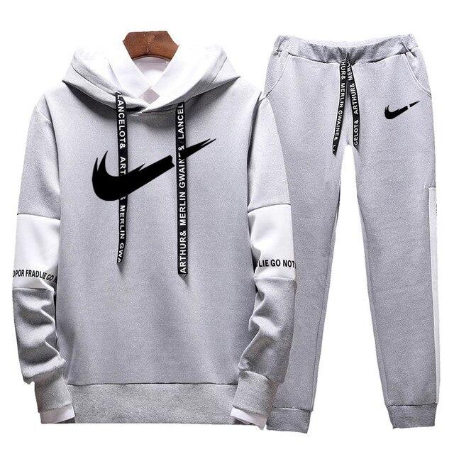 Brand Clothing Men's Casual Sweatshirts Pullover Cotton Men tracksuit Hoodies Two Piece +Pants Sport Shirts Autumn Winter Set 1