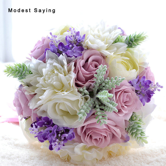 Romantic New Purple Artificial Flowers Rose Crystal Wedding Bouquets ...