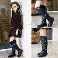 Девушки Рыцарь Сапоги 2016 Осенью и Зимой Новых детских Сапоги Принцесса Кожаные Ботинки Высокого верха Девушки обувь 1006J