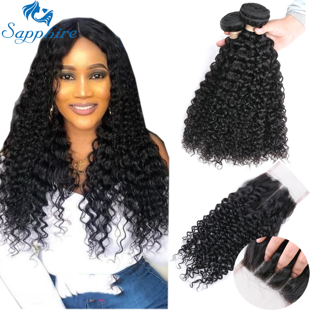 Sapphire Hair Brazilian Hair Weave 100 Human Hair Bundles Kinky Curly 3 Bundles With Closure Remy