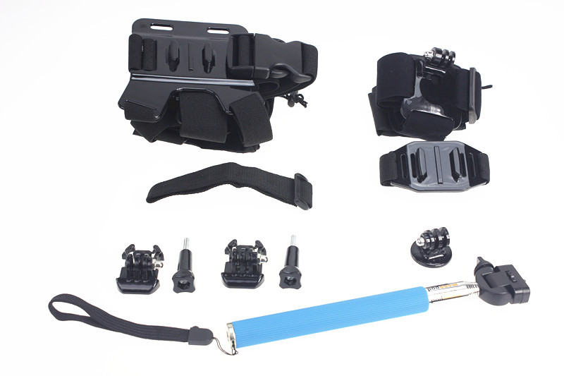 Black Chest Belt+Remote Wrist Belt+Head Strap+Helmet Strap+Bag+Handheld Monopod Mount for Gopro HD Hero3 3+ 4 sj4000 F05654-B