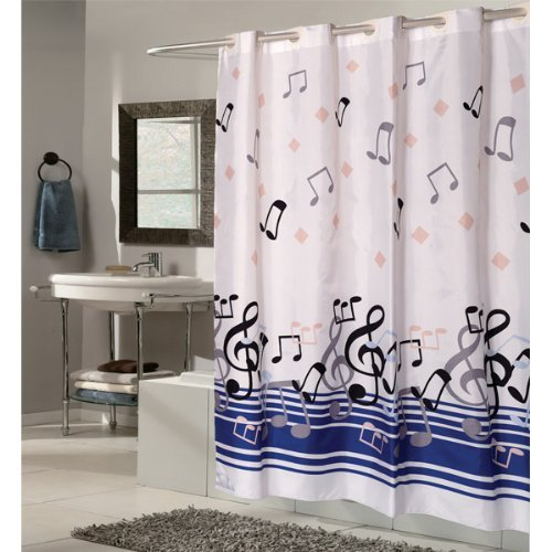 108 Extra Wide X 75 Long Blue Note Ez On Hookless Fabric Shower