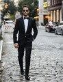 Черный slim fit мужская Свадебный Костюм На Заказ пиджак masculino Мужчины Жених Костюмы 3 Шт. (куртка + брюки + галстук)