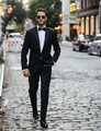 Negro slim fit trajes de Boda Por Encargo de Los Hombres blazer masculino Hombres Trajes de Novio 3 Unidades (jacket + pants + tie)