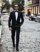 Black Slim Fit Men S Wedding Suit Custom Made Blazer Masculino Men Groom Suits 3 Pieces