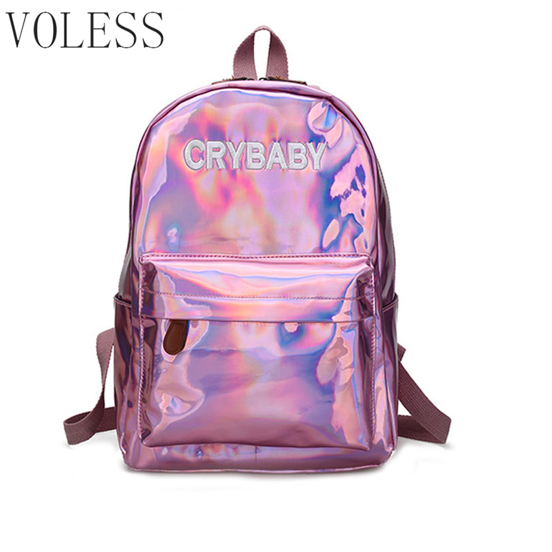 Laser Sequins Women Backpack High Quality Soft Pu Leather School Bags For teenager girl New Letter Black Backpack Women mochila high quality pu leather women backpack