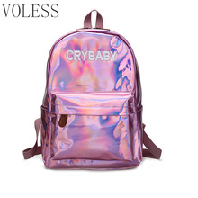 Laser Sequins Women Backpack High Quality Soft Pu Leather School Bags For teenager girl New Letter Black Backpack Women mochila