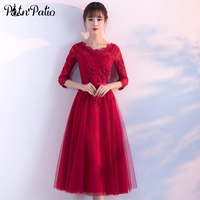 Burgundy Tulle Evening Dress with 3/4 Sleeve Elegant Lace Applique Midi Evening Party Dress Sexy Wine Red Evening Formal Gowns