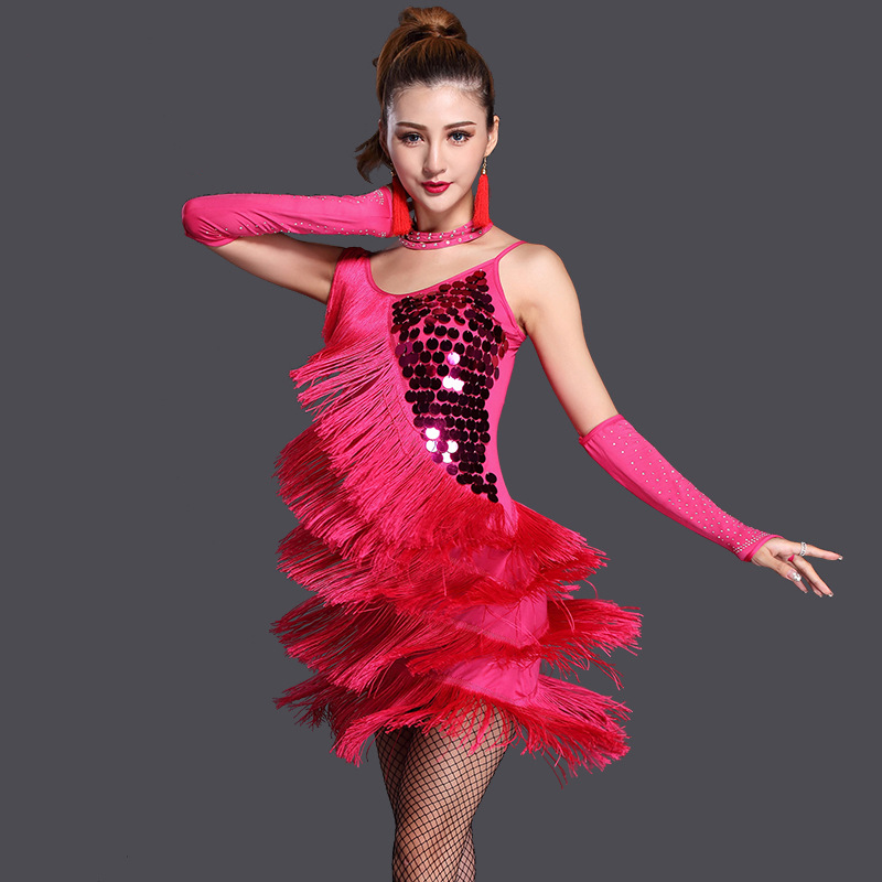 New Fashion Ballroom Dance Dress Samba 3pcs Costume Necklace Sleeves Women Sexy Salsa Dresses With Tassels Latin Dress Sequins