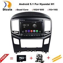 Android 5.1 HD 1024*600 Quad core RK3188 car video estéreo para Hyundai H1 2016 coches Reproductor de DVD con enlace espejo, RDS, GPS, Mapas