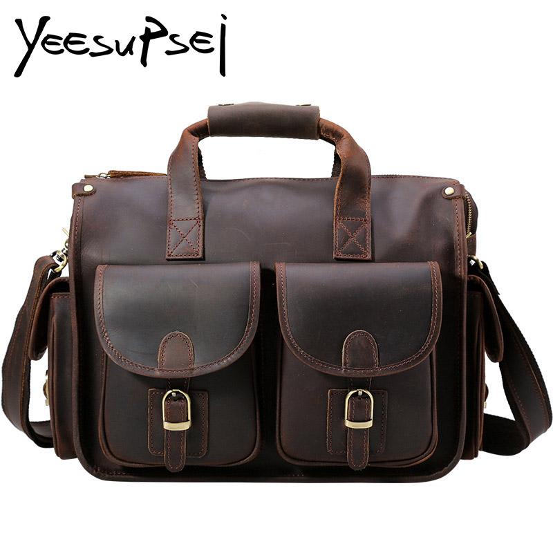 YeeSupSei Vintage Crazy Horse Briefcases Men Genuine Leather Messenger Bags 14 Laptop Handbags Cow Leather Business Large BagYeeSupSei Vintage Crazy Horse Briefcases Men Genuine Leather Messenger Bags 14 Laptop Handbags Cow Leather Business Large Bag