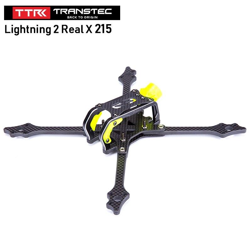 TransTEC Lightning 2 réel X 215mm 5 pouces Drone cadre Kit fibre de carbone Durable cadre Support 4 S-6 S LiPo pour GoPro Session HERO 4