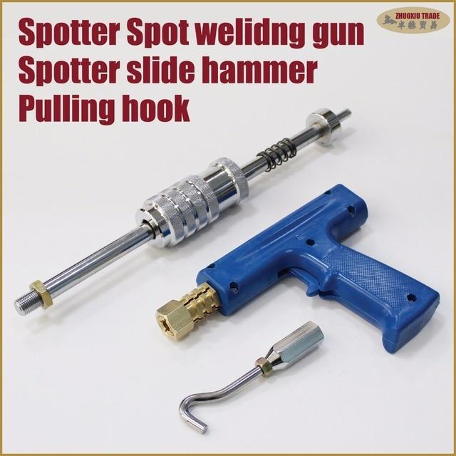 Multi function portable spotter single sided spot welding shrinking gun slide hammer with dent pulling washer hook studder tools