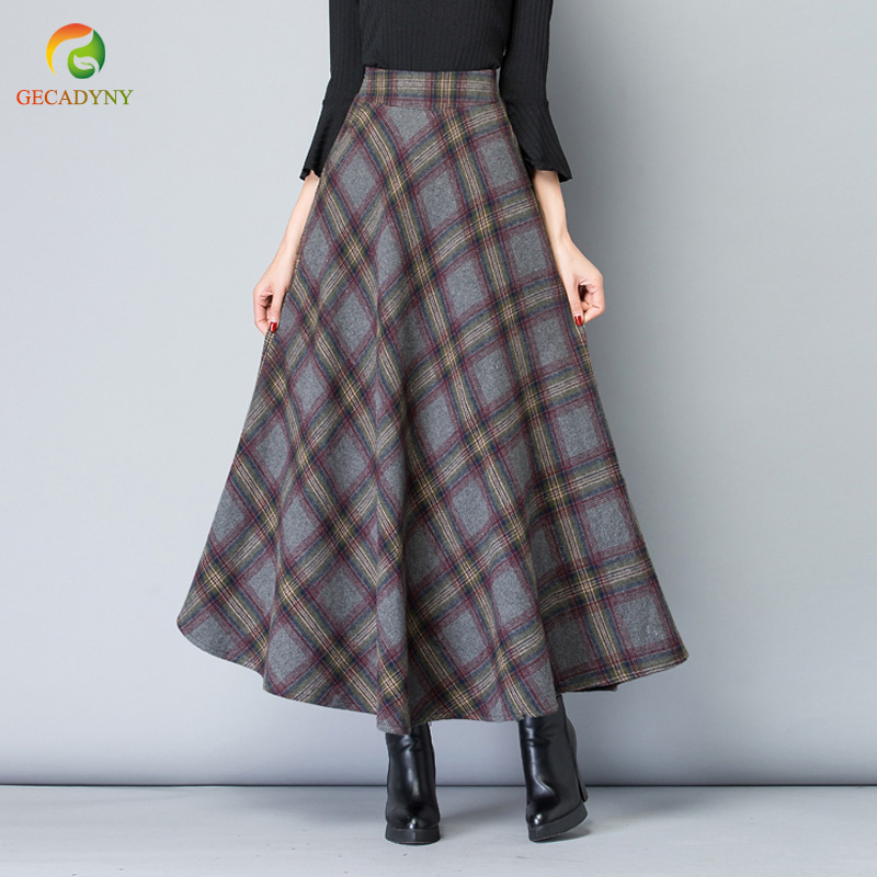 09e27374d4dae Elegant Women Skirts Autumn Winter Plaid Long Skirts Women Maxi Skirt Big  Swing High Waist Woolen Office Skirt Jupe Longue 2018