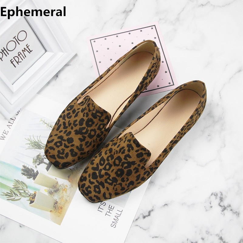 Lady Rome Style Leopard P Plus Size 12 11 44 No Heels Square Toe Shoes Women Soft Sole Slip-on Breathable Brown White Printing