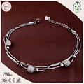 Good Quality Delicate Three Circle 925 Real Silver Snake  Chain Bracelet With Ball Bead Charms