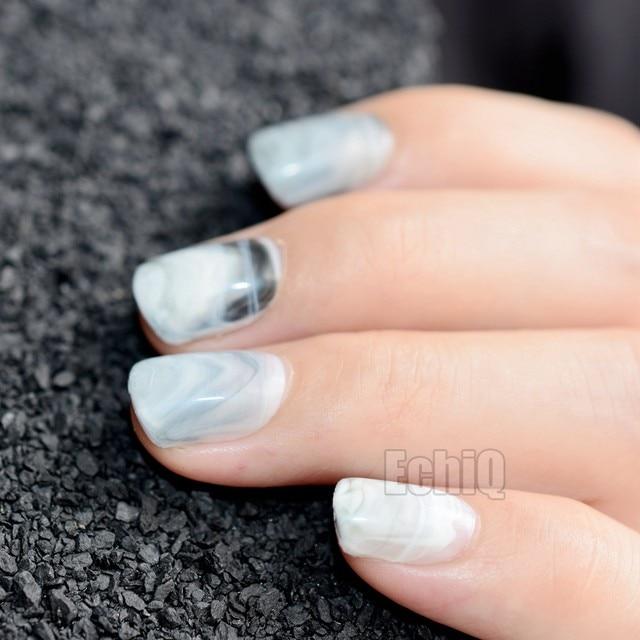 Online Shop Shiny Squoval Acrylic Nail Tips Gray White Marble Stones ...