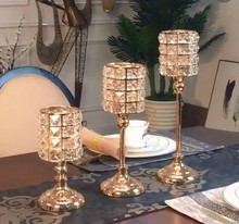 Golden Crystal Metal Candle Holders Stand Home Decoration