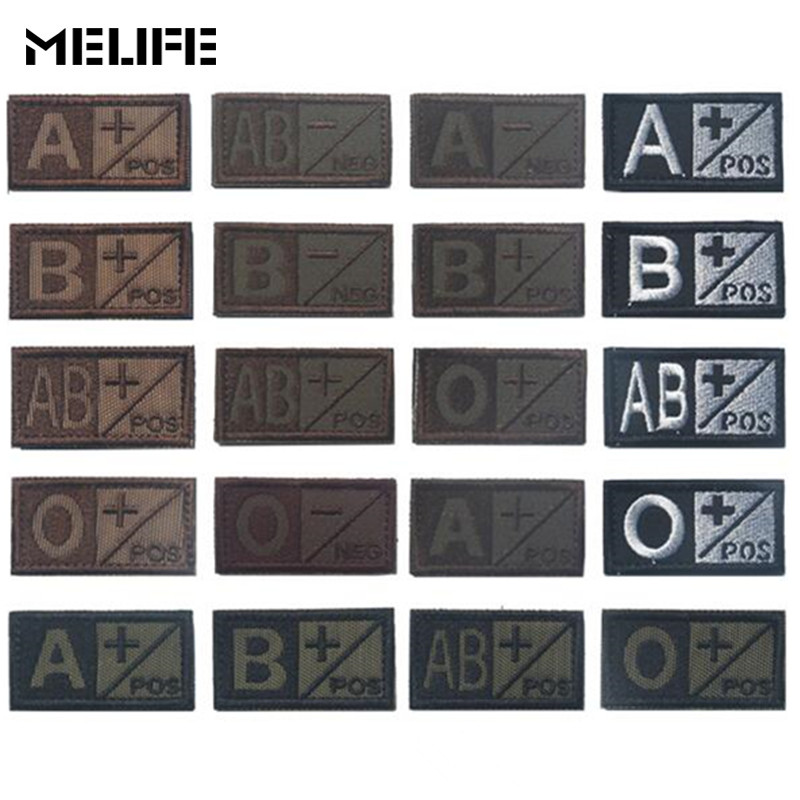 A+ B+ AB+ O+ Positive POS A- B- AB- O- Negative NEG Blood Type Group Patch Tactical Morale Patches Military Embroidery Badges