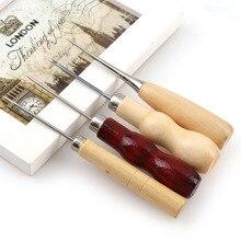 4 unids/set 4 estilos Boxwood Redwood calabaza de lona de cuero zapatos de coser herramienta de mango de madera Awl herramienta de aguja de costura manual arte