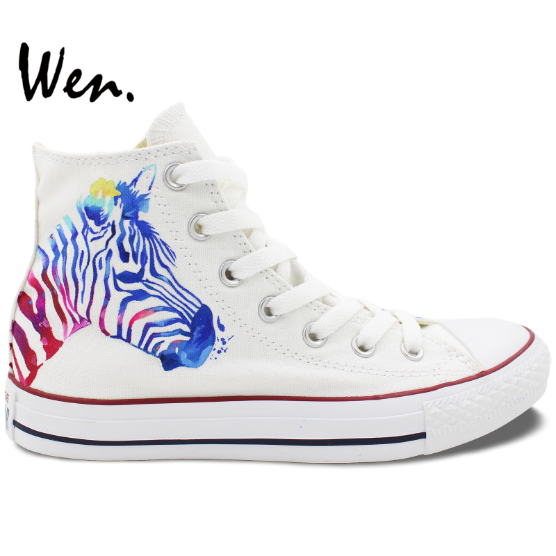 ФОТО Wen Original Hand Painted Shoes Design Custom Zebra Pattern Men Women's White High Top Canvas Sneakers for Gifts