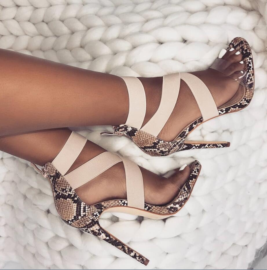 Eilyken Stretch Fabric Women Sandals Gladiator Ankle Wrap High Heels Shoes Fashion Summer Ladies Party Pumps Shoes Black Apricot