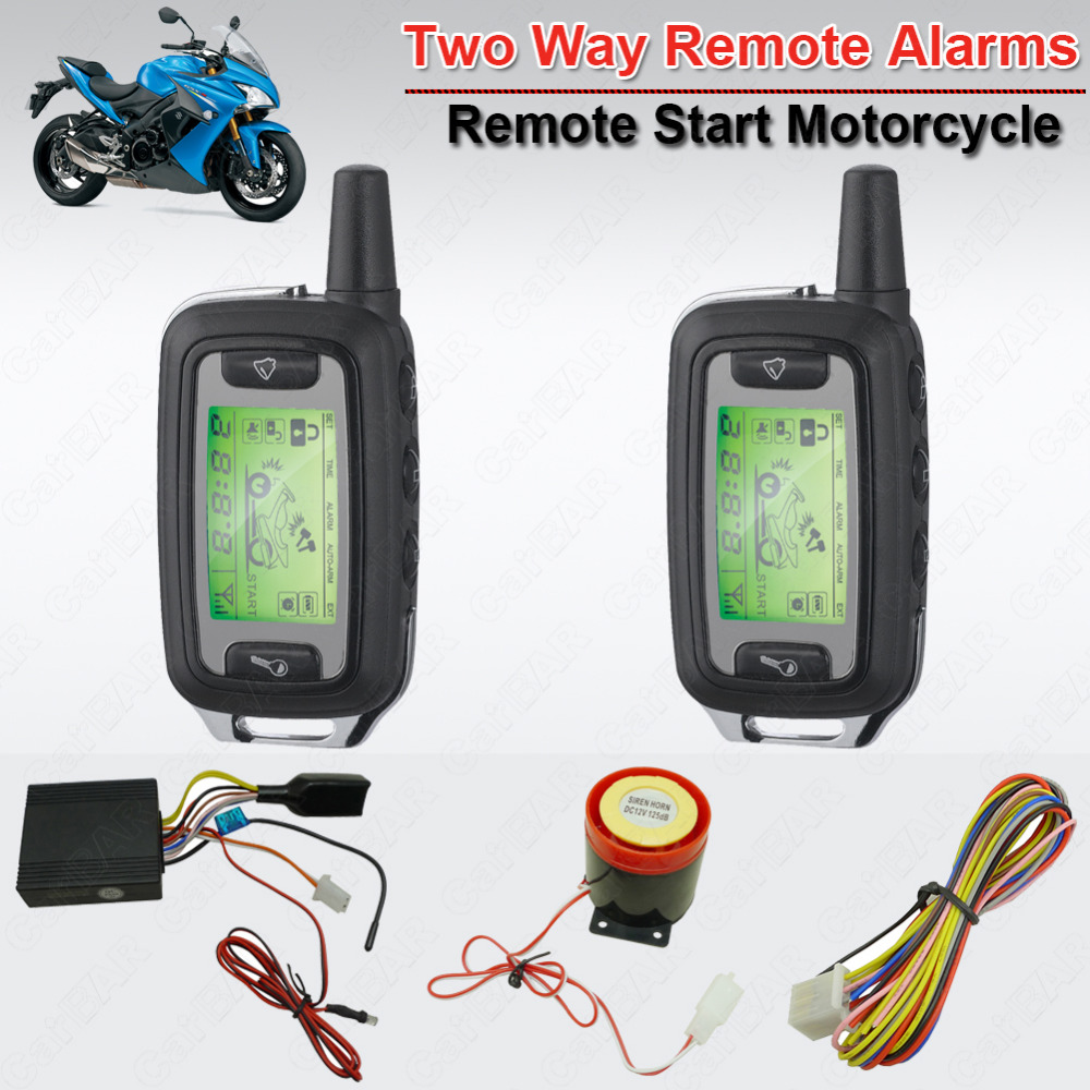Waterproof 2 Way Motorcycle Alarm Moto Security System Shock Two Way Alarm Modes Remote Anti-hijacking Feature Mute Alarm