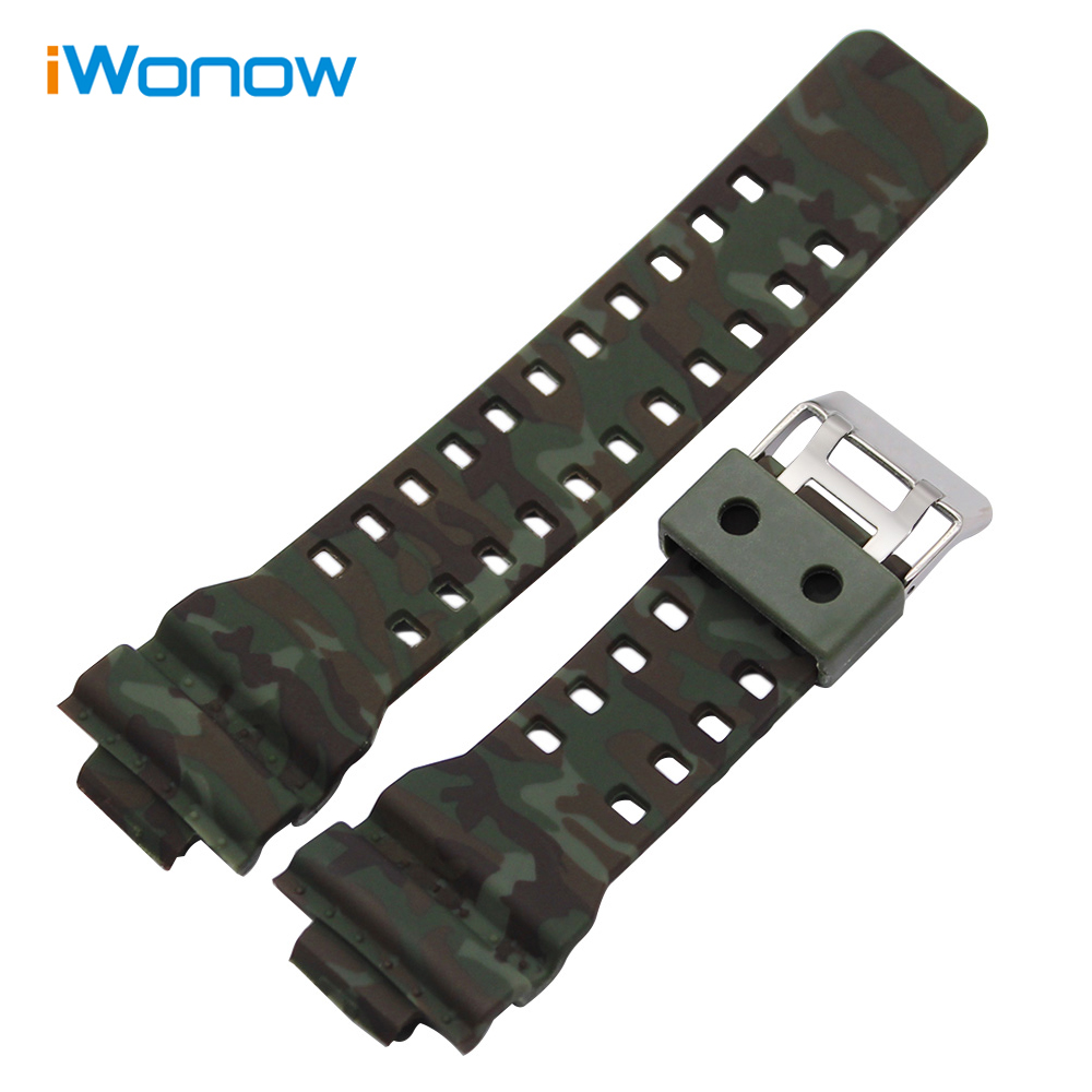 16mm x 29mm Camo Silicone Rubber Watchband for GA100 G/GW/GLS8900 GLS100 Replacement Watch Band Steel Clasp Strap Wrist Bracelet jansin 22mm watchband for garmin fenix 5 easy fit silicone replacement band sports silicone wristband for forerunner 935 gps