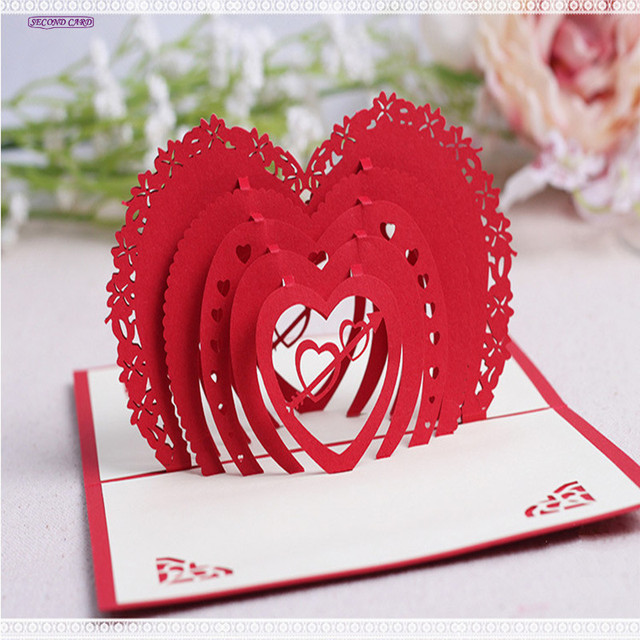 2017 new 5pcslot 3d red love heart invitation card for wedding 2017 new 5pcslot 3d red love heart invitation card for wedding decoration wedding stopboris Image collections