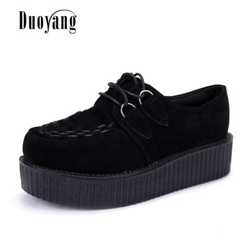 Creepers shoes woman plus size 35-41 women Shoes plus size ladies platform shoes 2019 Women Flats Female shoes laces Black heels