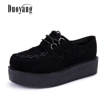 цена на Creepers casual shoes woman plus size sneakers women shoes ladies platform shoes 2020 Lace-up Women Flats Female shoes loafers