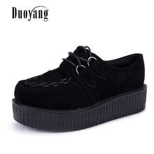 Creepers shoes 35-41 women Shoes plus size ladies platform shoes 2017 Women Flats shoes