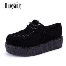 Zapatos Creepers para mujer de talla grande 35-41, zapatos de mujer de talla grande, zapatos de plataforma para mujer 2020, zapatos planos para mujer, cordones, tacones negros