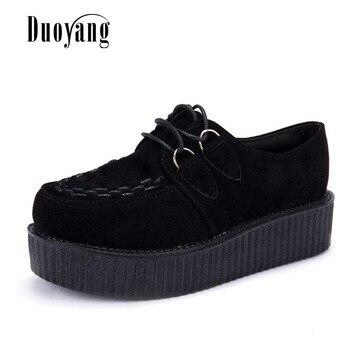 Creepers shoes woman plus size 35-41 women Shoes plus size ladies platform shoes 2018 Women Flats Female shoes laces