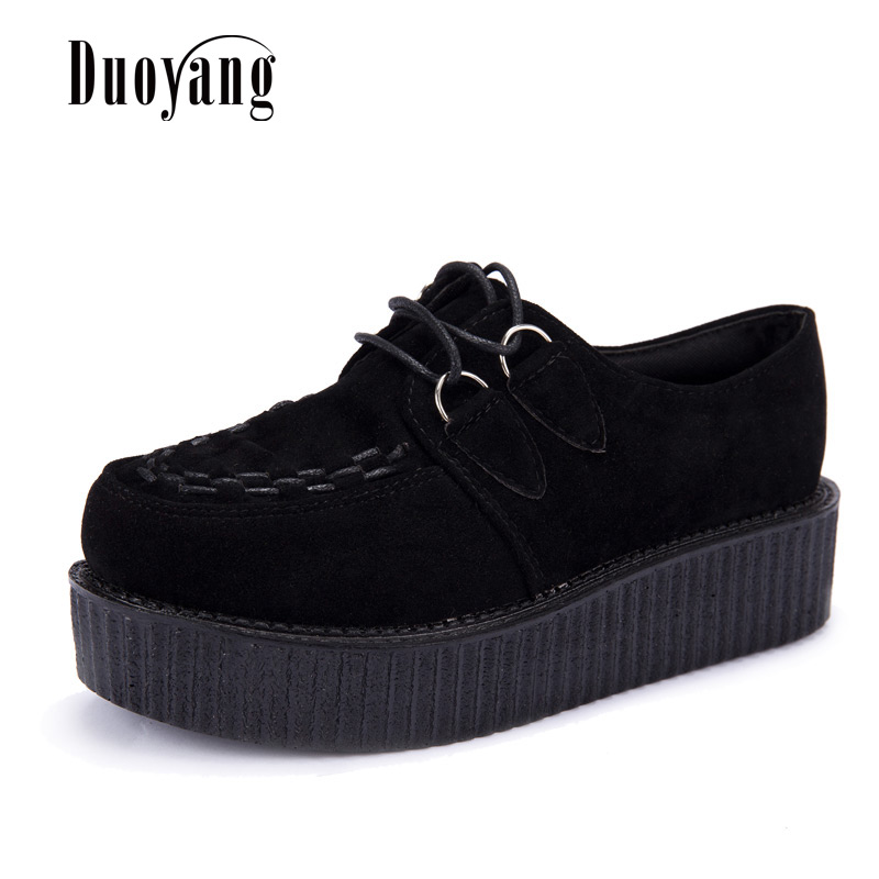 Creepers Shoes Woman Plus Size 35-41 Women Shoes Plus Size Ladies Platform Shoes 2020 Women Flats Female Shoes Laces Black Heels