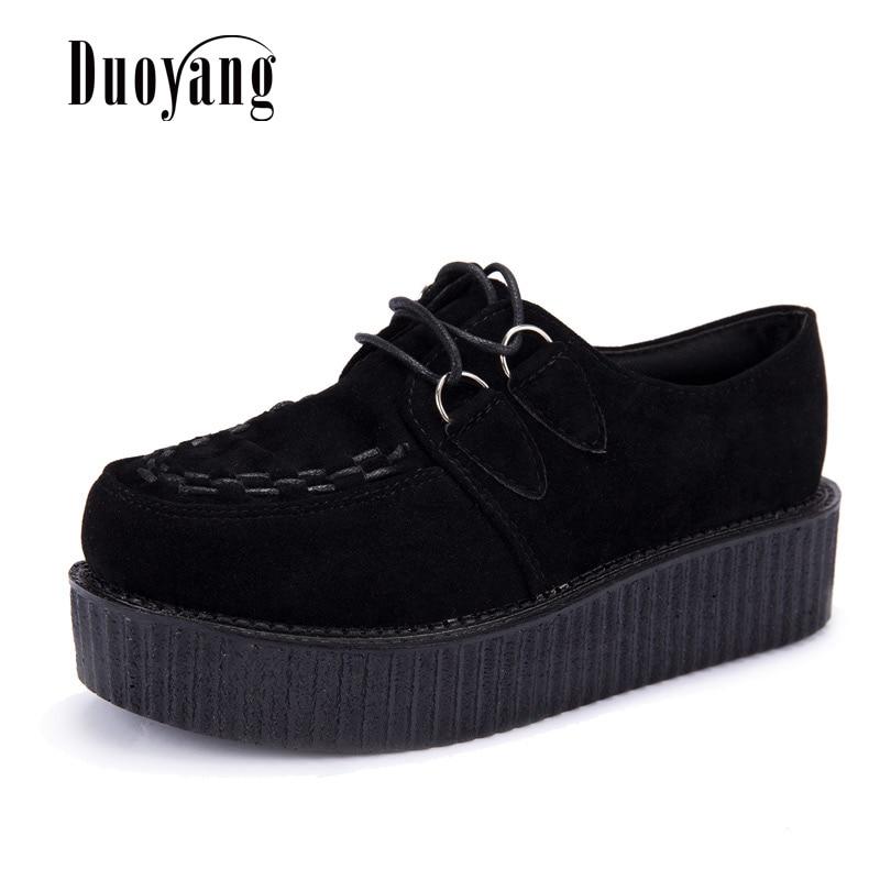 Creepers Shoes Woman Plus Size 35-41 Women Shoes Plus Size Ladies Platform Shoes 2020 Women Flats Female Shoes Laces Black Heels