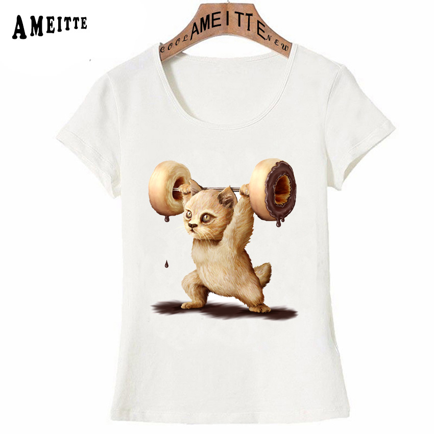AMEITTE Powerful Kitten Doing Donuts Printed Cute T-Shirt Summer Women T Shirts Cool Cat Design Girl Casual Tops Woman Tees