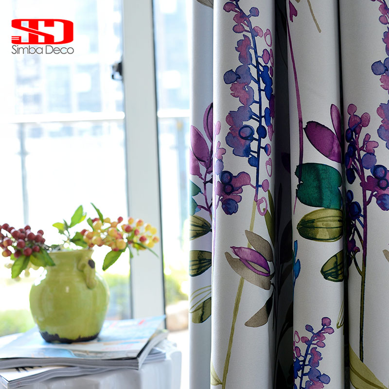 American Purple Floral Blackout Curtains For Living Room Bedroom Kitchen Cortinas Printed Pastoral Style Window Treatments