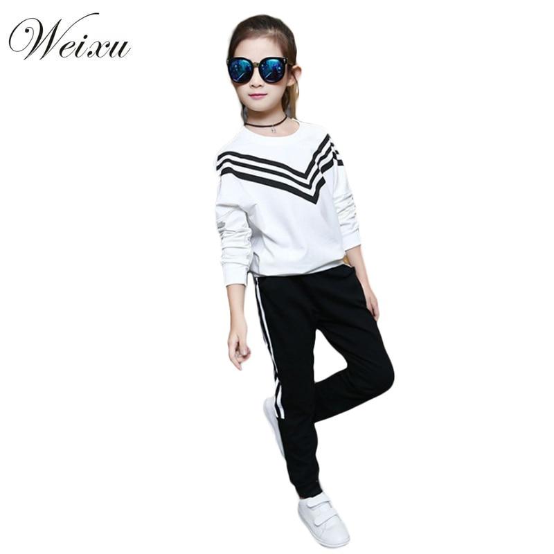 Kids Girls Clothing Sets 2017 Autumn Sportswear Long Sleeve Pullover Sweatshirt+Pants 2pcs Sport Suit School Uniform for Girls
