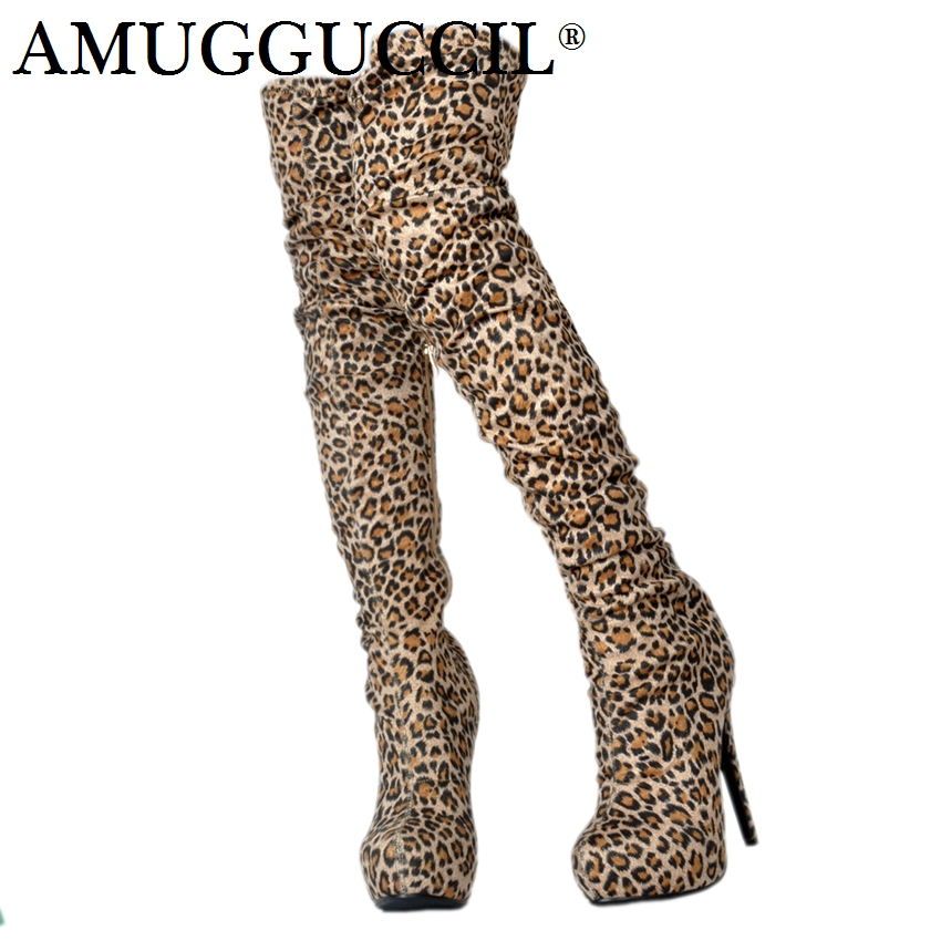 2018 New Plus Big Size 34-52 Leopard print Platform Over The Knee Thigh High Heel Autumn Winter Female Ladies Womens Boots X1735 womens ladies hangover hoodie print pull over hoody sweatshirt crop top