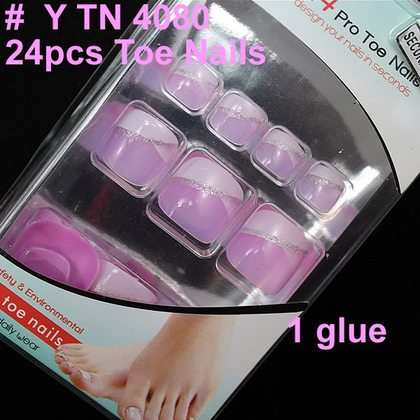 french toenails flower airbrush full cover false toe nail with glue wholesales