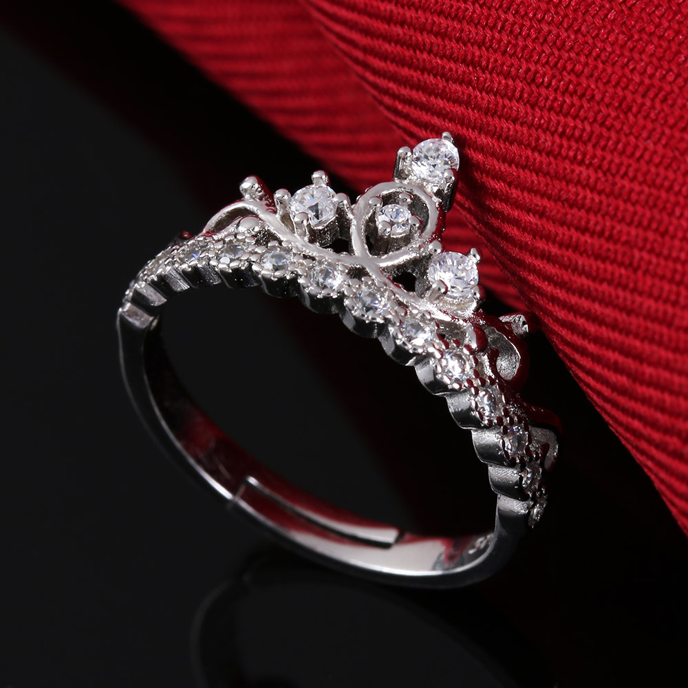 1PC Silver Plated Imperial Princess Crown Rings For Women Girls Crystal Zircon Rings Bridal Jewelry Bijoux Femme Adjustable