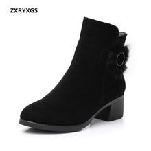 Высококачественная обувь из матовой воловьей кожи; женские брендовые ботинки; модель года; Новейшая модель; зимняя Удобная теплая женская обувь; зимние ботинки
